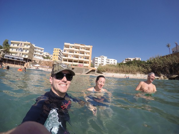 Matt, Caline, and Zareh having fun in the water